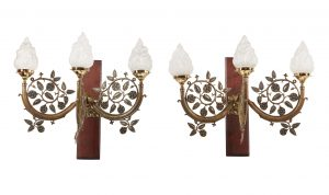 A pair of Arts & Crafts brass wall lights
