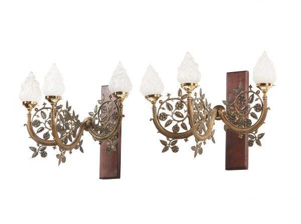 A pair of Arts & Crafts brass wall lights from Paul Reeves London