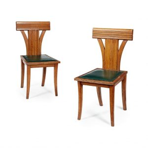 A pair of oak ' Klismos ' side chairs from Paul Reeves London