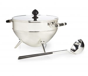 A silver plated tureen, cover and ladle