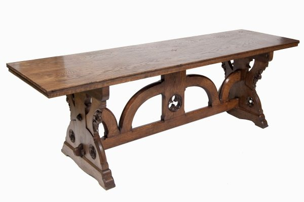 An oak Gothic Revival refectory table from Paul Reeves