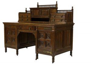 An oak Gothic Revival desk