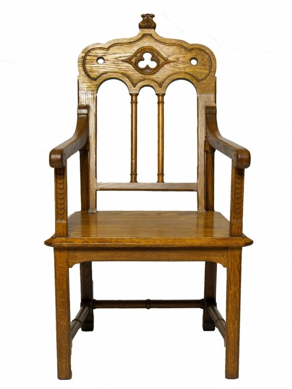 A Gothic Revival oak armchair