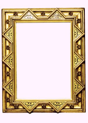A Gothic Revival painted and gilded mirror