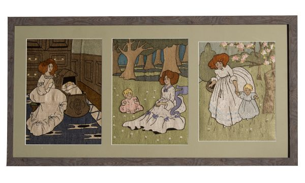 a triptych of silk work embroideries attributed to John Hassall for Liberty & Co.