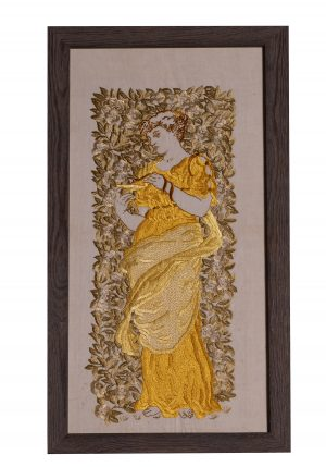 A framed fine quality silk embroidery designed by Helen Welby