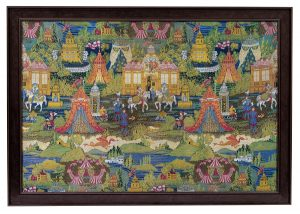 An exceptional woven silk panel depicting The Field of the Cloth of Gold.