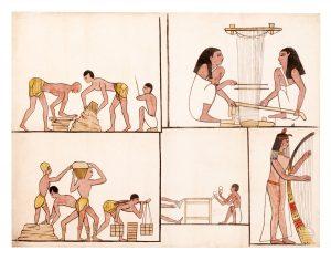 an Egyptian style cotton panel