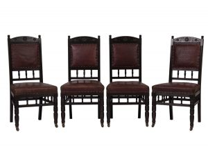 ebonised side chairs attributed to Alfred Waterhouse