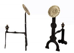 A pair of Aesthetic Movement fire andirons